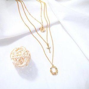 Gold Color Layered Cross Necklace
